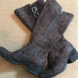 Brown Knee high suede boots